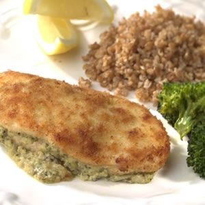 One breast pounded flat, rolled with 2 tbsp cream cheese, 1 tbsp pesto, dredged in egg white and bread crumbs, pan fried 2 mins just one side, baked at 400 for 30 minutes. Approved.