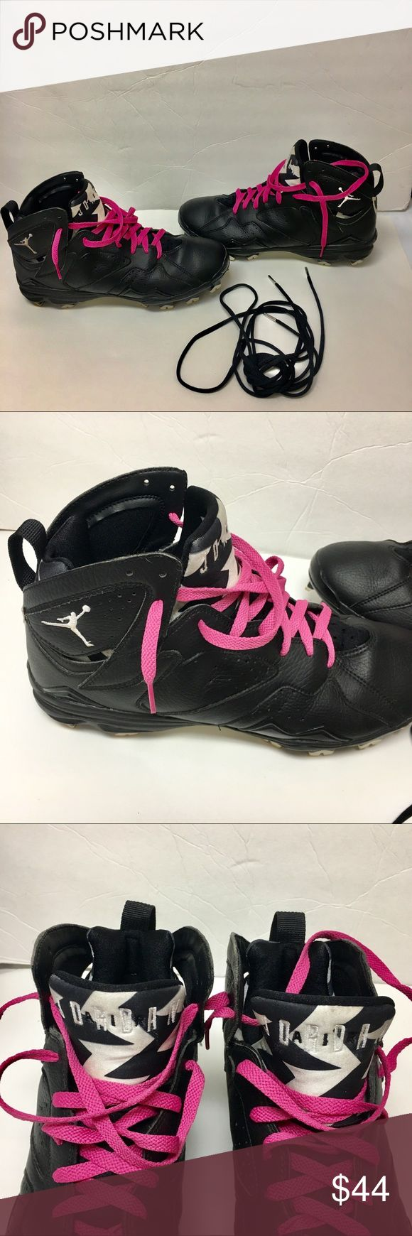 Nike Jordon football cleats pink laces for cancer These are a fantastic pair of Jordan Nike football cleats. they are preowned pre-loved💖. They come with pink laces, to celebrate breast cancer awareness,and the original black laces. They are in very good condition. They are a men's size 11 nike Shoes Athletic Shoes