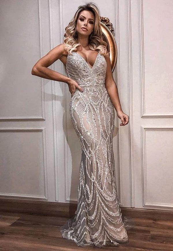 5039c344a1 Vestidos e tendências 2019  vestido de festa prata bordado longo ...