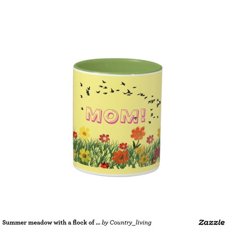 Summer meadow with a flock of flying swallows Two-Tone coffee mug