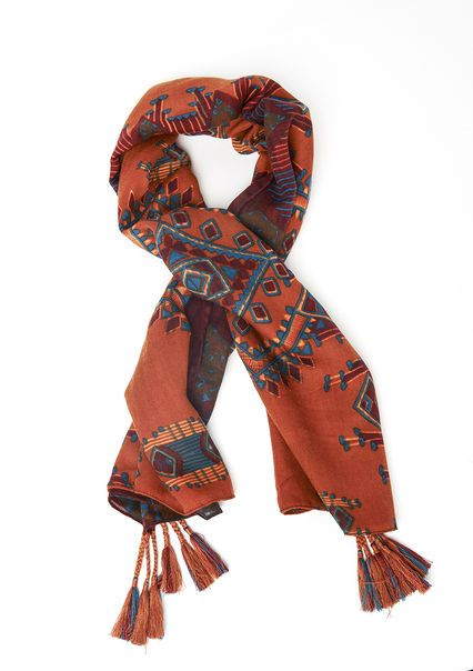 Sjaal met etnische print en floshjes,