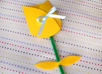 This pretty tulip card is tied with a bow.  Once untied it opens up to reveal your message to Mom.