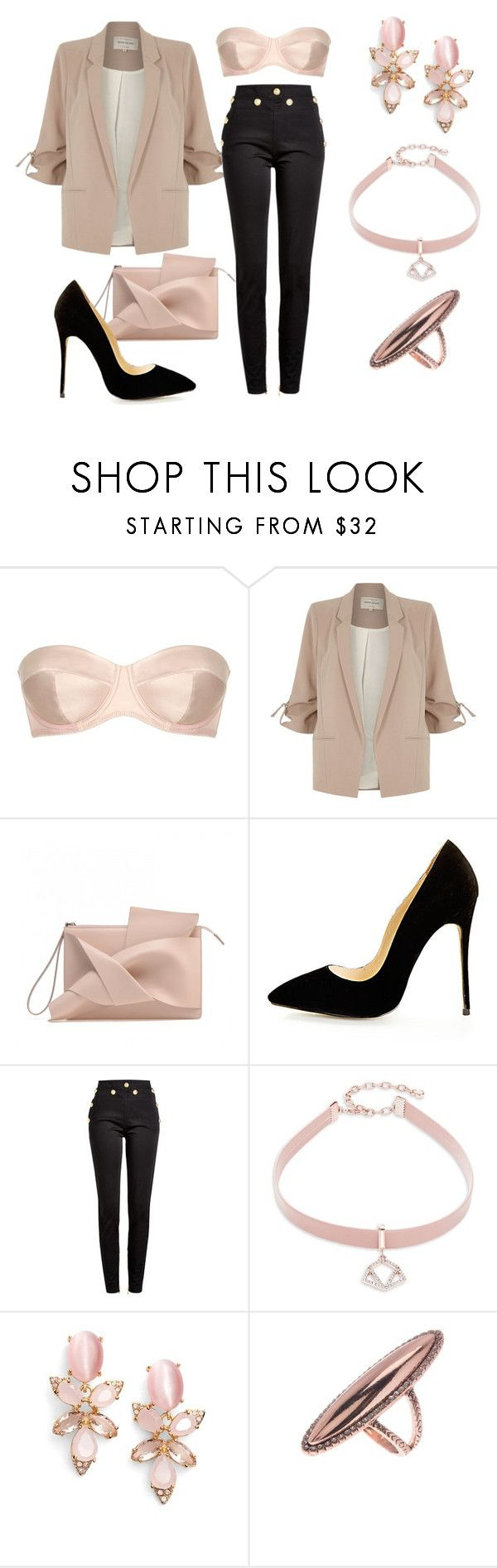 """""""Champagne chic"""" by elisa-itgirl ❤ liked on Polyvore featuring L'Agent By Agent Provocateur, River Island, Balmain, Design Lab, Kate Spade and House of Harlow 1960"""