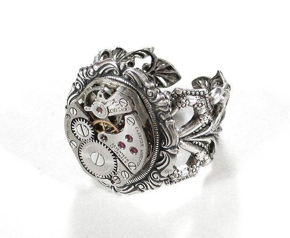 Steampunk Ring Vintage Ruby Jewel ORNATE Watch by edmdesigns