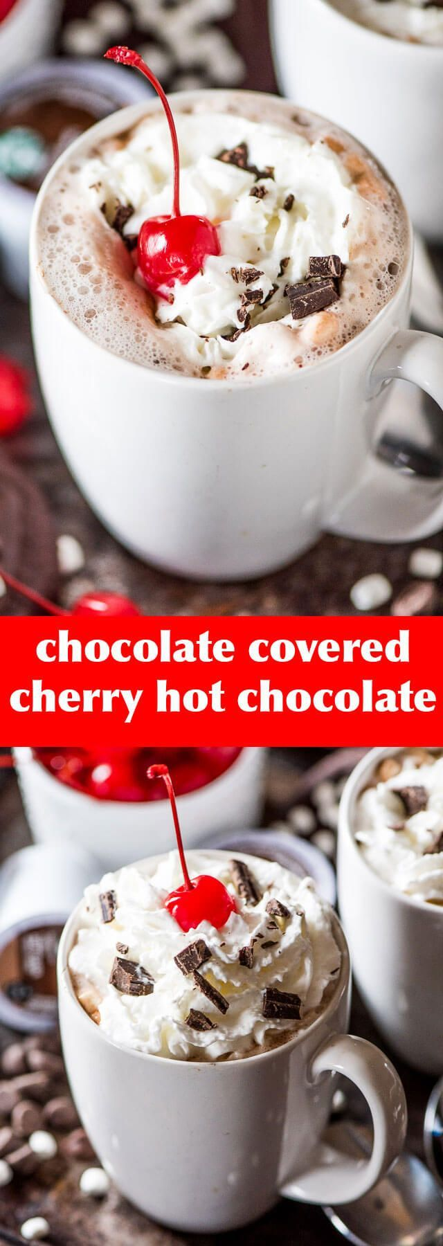 Rich & creamy chocolate covered cherry hot chocolate. The easiest hot cocoa recipe you'll make! Top with whipped cream and chocolate shavings.
