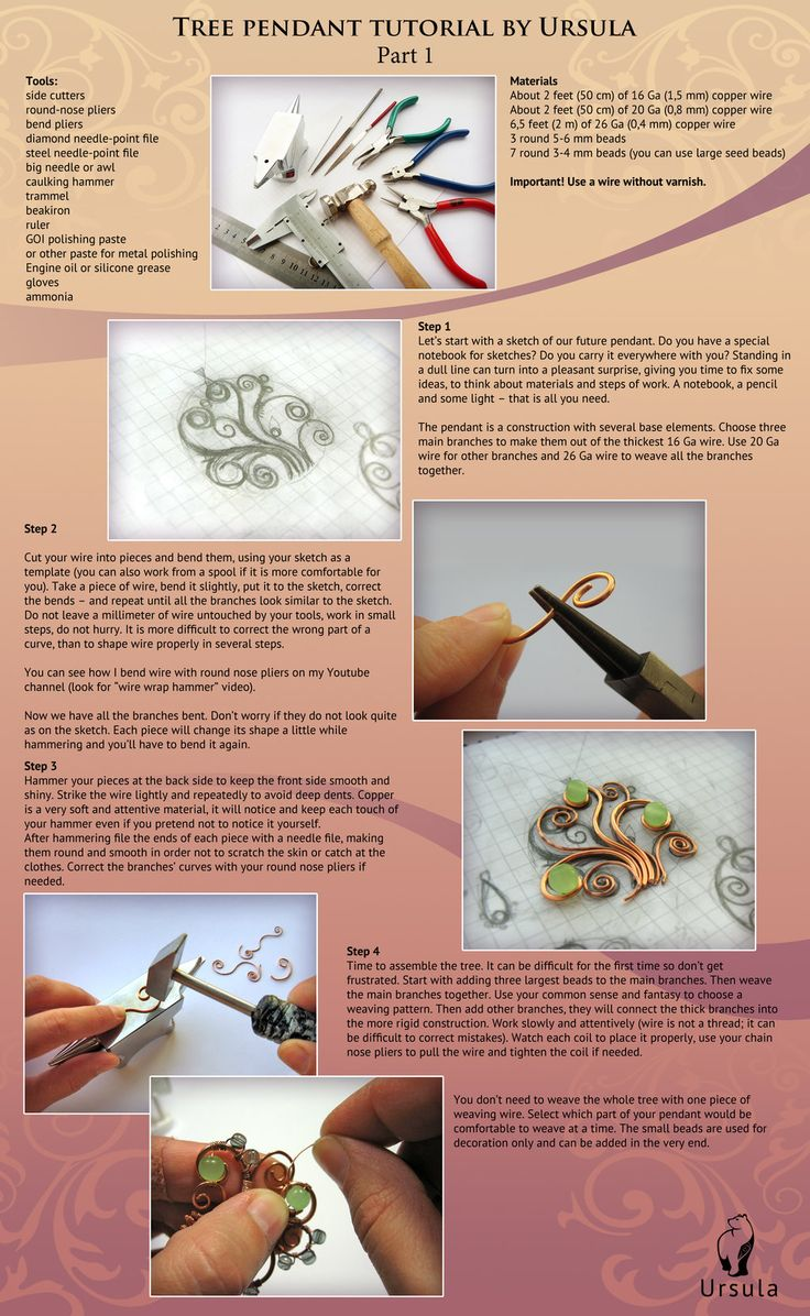 Tutorial wire wrap - Tree pendant - Part 1 by UrsulaOT