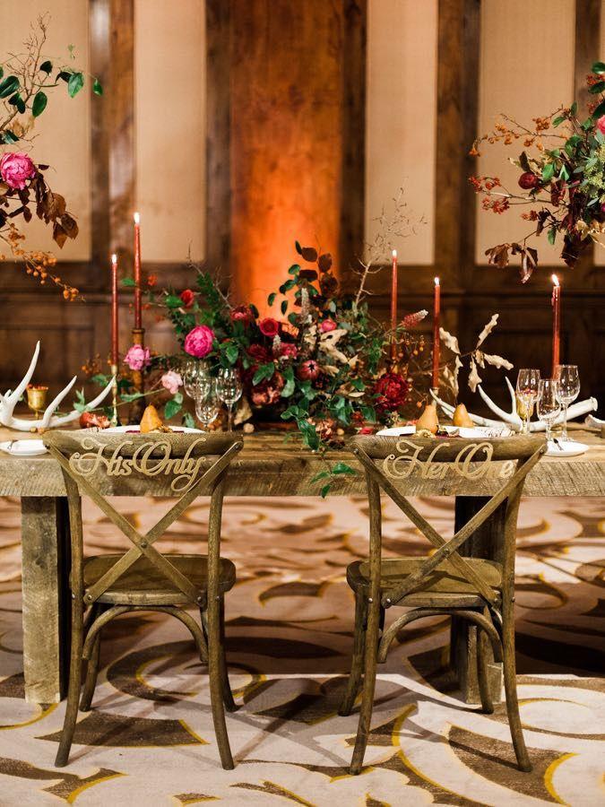 Stunning Winter Marsala Mountain Wedding Red ReceptionsWedding Reception IdeasWedding