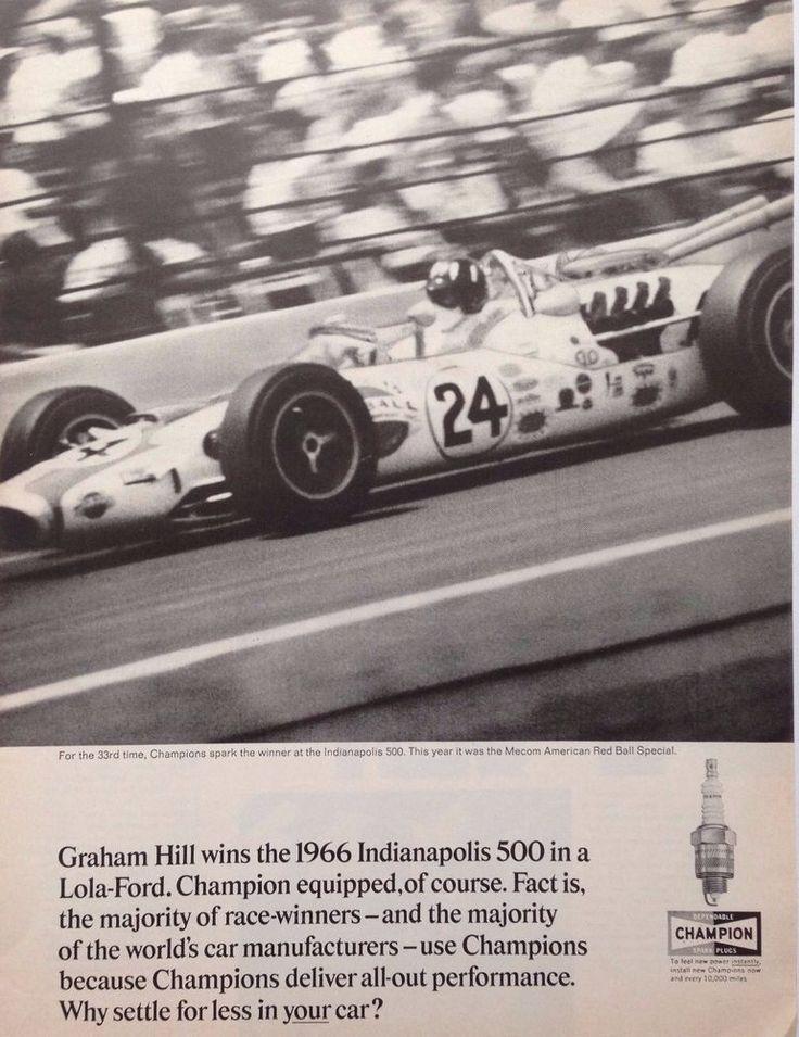 CHAMPION SPARK PLUGS AD RETRO INDY 500 INDY CAR 1960 original vintage advert