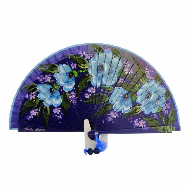 Abanico morado flores diseño azules - Paula Alonso - Tienda online