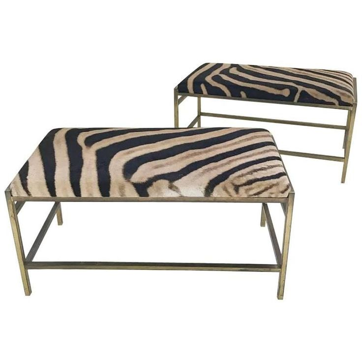 McCobb Style Brass and Zebra Hide Benches