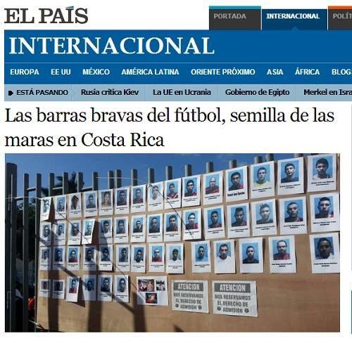 """Diario El País de España """"Las barras bravas del fútbol, semilla de las maras en Costa Rica"""""""