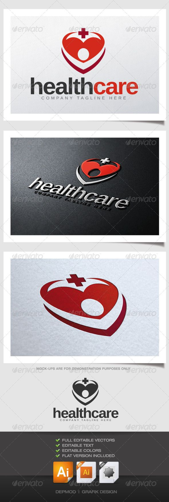 Health Care Logo V02 #GraphicRiver Heart shape with silhouette and cross. Can be used for many kind of project. Full vectors, this logo can be resize and colors can be changed easily to fit your project.
