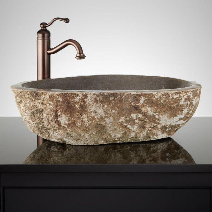 Leominster Gray River Stone Vessel Sink Vessel Sinks Bathroom Sinks Bathroom Stone Vessel Sinks Vessel Sink Sink