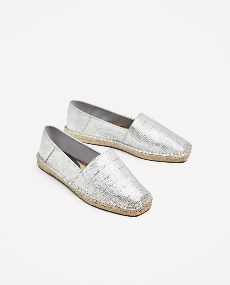 ZARA - WOMAN - SILVER-TONED LEATHER ESPADRILLES