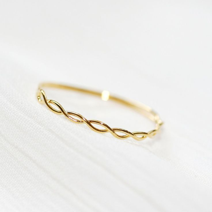 Sweet delicate twisted braid ring