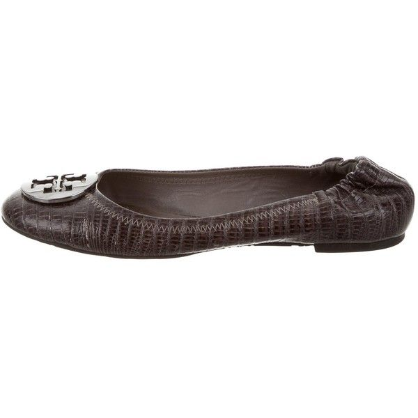 Pre-owned Tory Burch Reva Ballet Flats ($65) ❤ liked on Polyvore featuring shoes, flats, silver, ballet pumps, ballerina flat shoes, leather flats, ballet shoes flats and round toe flats