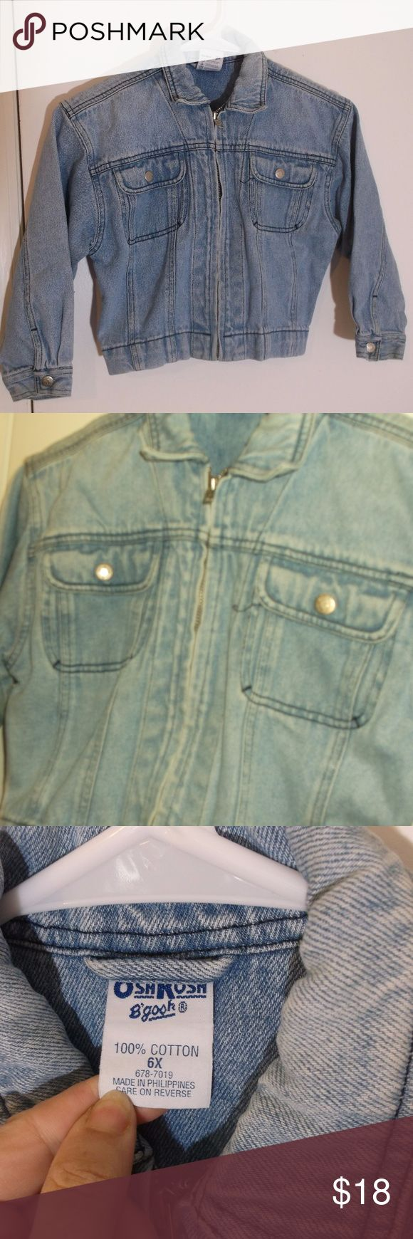 OshKosh Blue Jean Denim Jacket Girls 6X This is a little girls denim jean jacket by Osh Kosh in a size 6X 100% cotton Long sleeves, collar Zipper down front 2 snapped pockets on chest, snaps at cuffs, adjustable snaps at waist Light stonewash blue in color In excellent used condition OshKosh B'gosh Jackets & Coats Jean Jackets