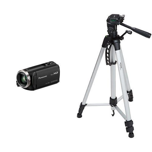 Panasonic HCV180K Full HD Camcorder with 50x Stabilized Optical Zoom with AmazonBasics 60Inch Lightweight Tripod ** Click on the image for additional details.