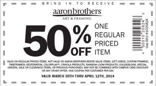 Check out offers from Aaron Brothers Art & Framing using GeoQpons app on your phone. Visit www.geoqpons.com