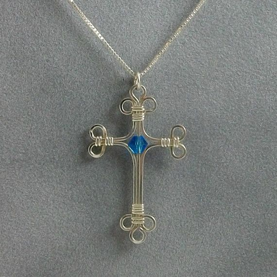 Handmade Sterling Silver Wire Wrapped Cross Pendant with Swarovski Crystal