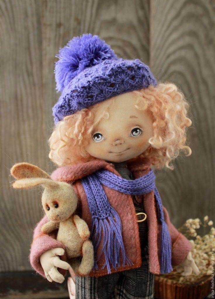 Купить Авторская текстильная кукла Моника - васильковый, авторская ручная работа, авторская работа