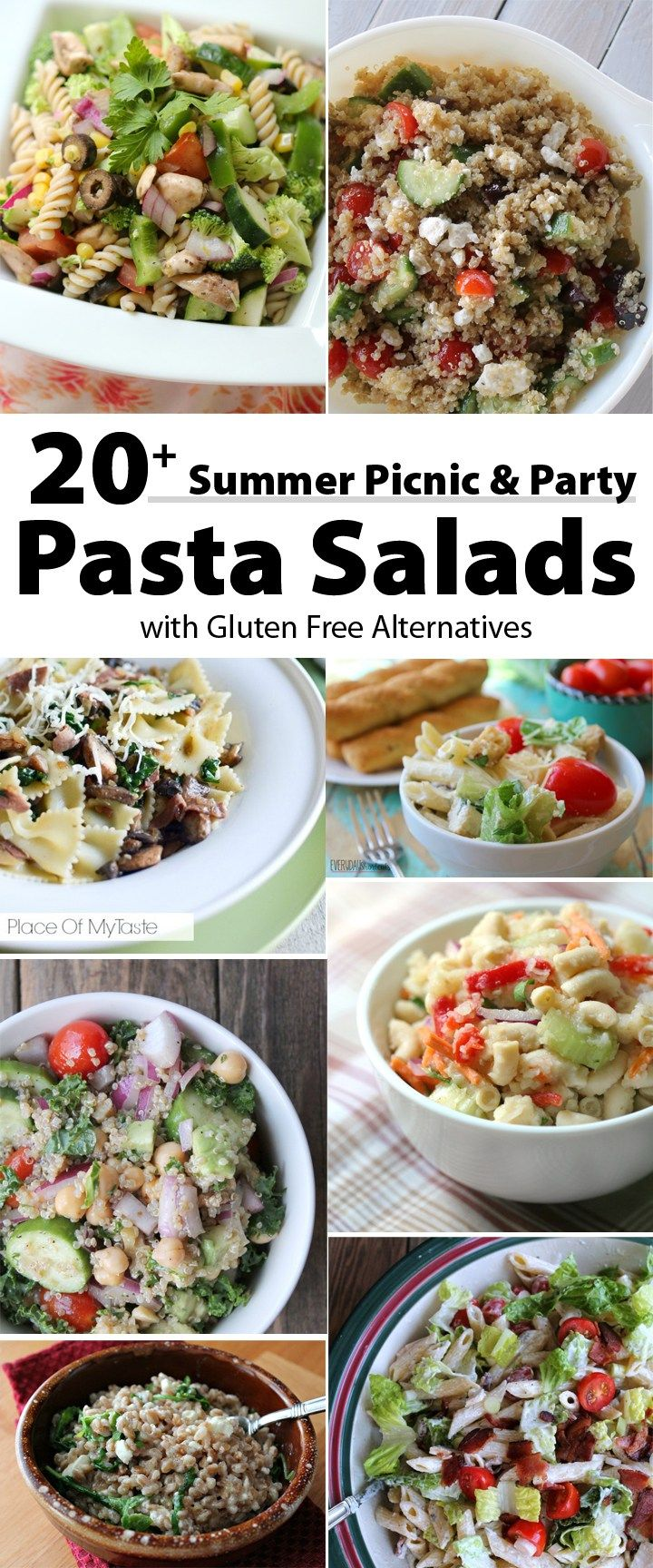 20 + Summer Picnic Pasta Recipes with Gluten Free Alternatives.