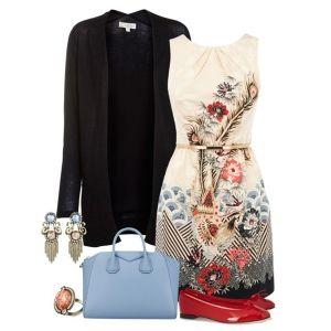 С чем носить красные балетки: платье с цветочным узором и черная кофта
