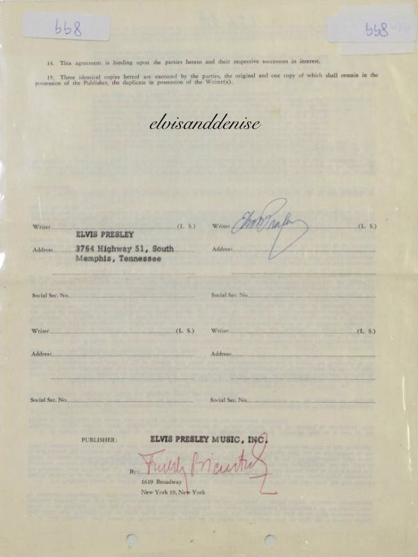 Signed contract between Elvis and Elvis Presley Music in