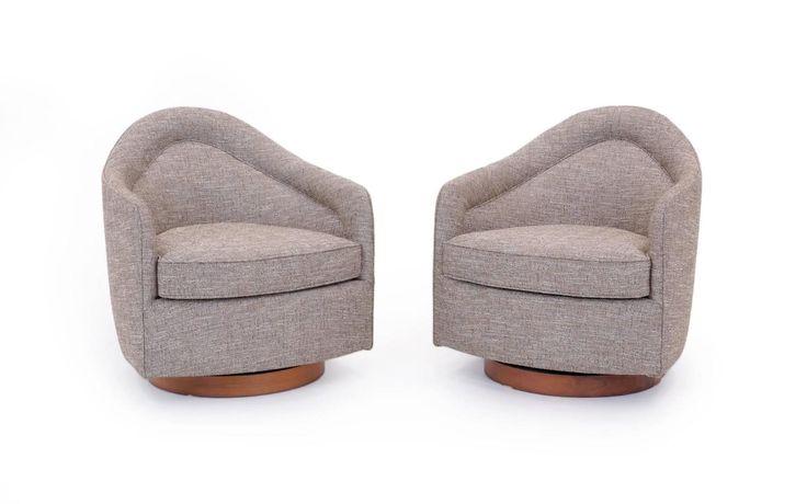 Pair of Milo Baughman for Thayer Coggin Swivel Rocker Club Chairs 2