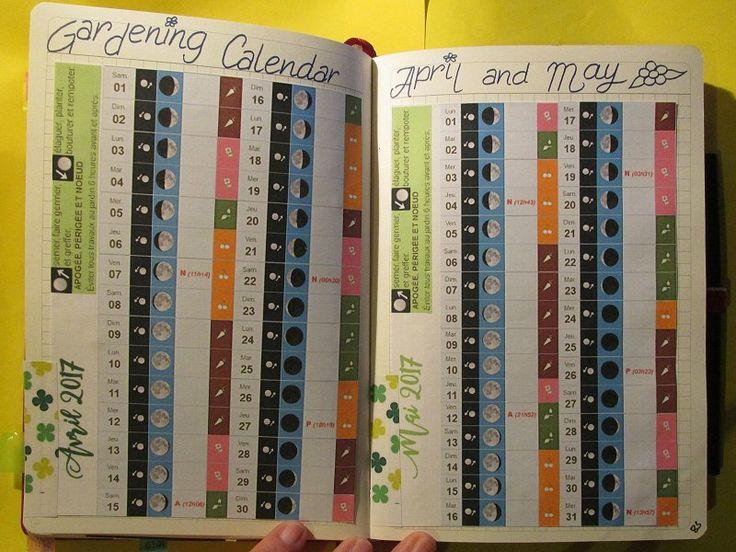 Bullet Journal. Moon gardening calendar. Calendrier lunaire jardinage.