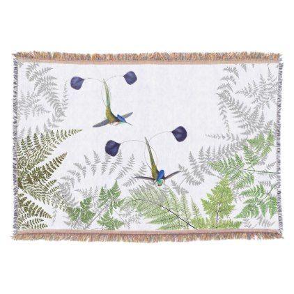 Hummingbird Birds Ferns Animals Throw Blanket - animal gift ideas animals and pets diy customize