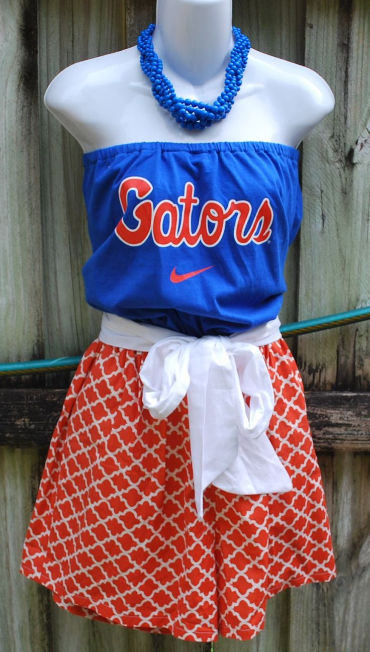 White apron gainesville fl - University Of Florida Gators Game Day Romper Jumper Jumpsuit With Sash Upcycled T Shirts Small
