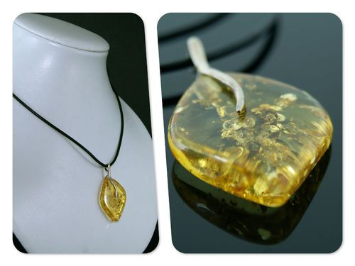 Baltic amber pendant and leather cord and 925 (length 55cm) 10.5 gr.