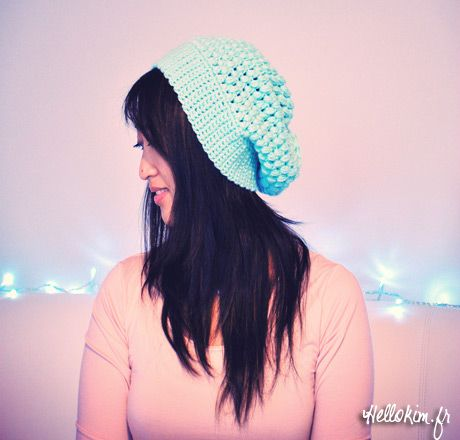 Crochet Mes premiers bonnets « Hello Kim ! - Links to Free Ravelry Pattern.