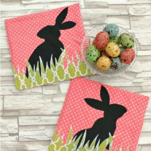 These fun Bunny Silhouette Homemade Hot Pad patterns are made specifically for Easter, but theyd be cute year-round in all sorts of color combinations. The bunnies and grass can be cut from some of those larger scraps we all seem to have sitting around. Learn how to make hot pads with this simple tutorial, which includes printable templates for the grass and bunnies. Although this pattern is Easter-themed, it's also subtle and sophisticated.