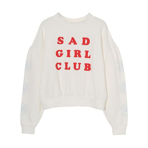 SAD GIRL CLUB SWEAT TOPS ❤ liked on Polyvore featuring tops, hoodies, sweatshirts, sweaters, shirts, white puffy shirt, white sweatshirt, white shirt, white top and puffy shirt