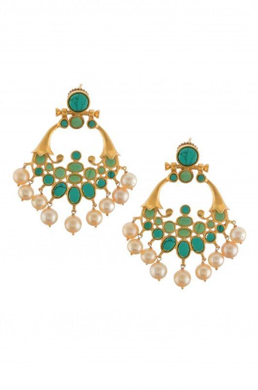 Silver Turquoise & Pearl Earrings
