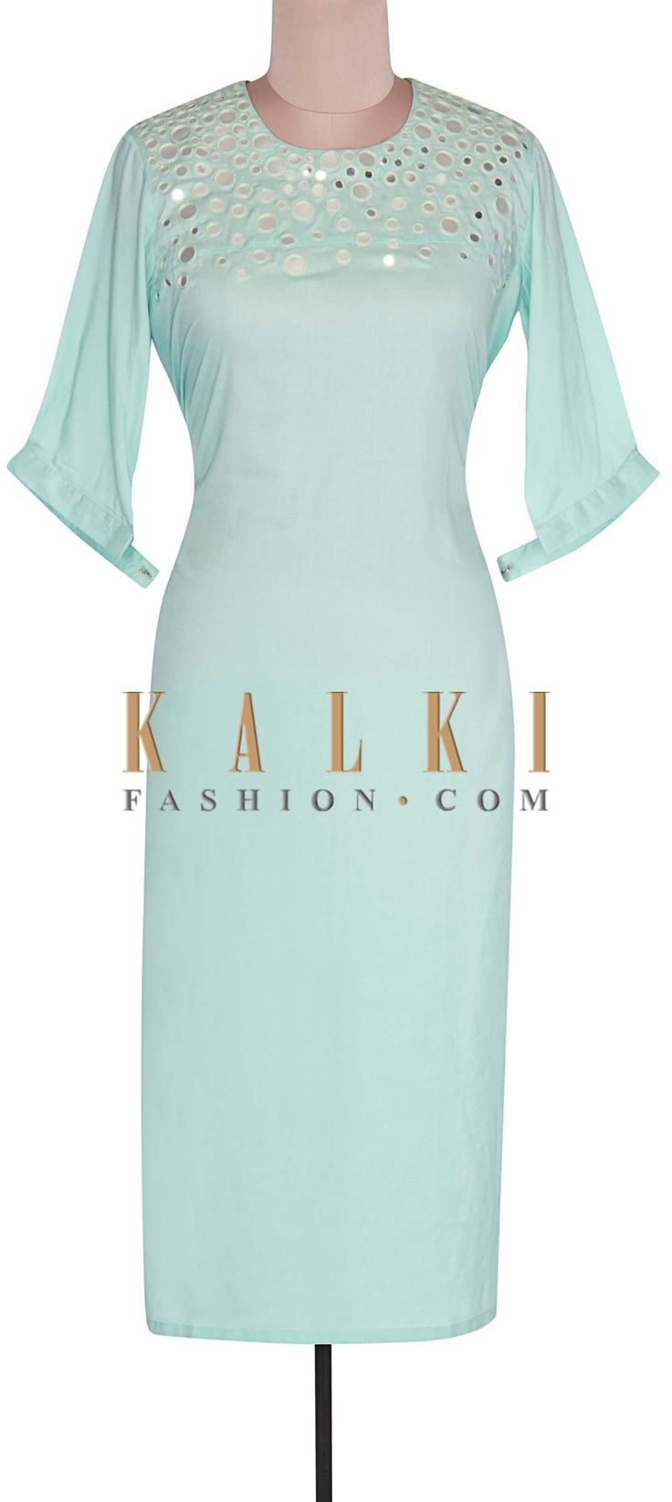 Buy Online from the link below. We ship worldwide (Free Shipping over US$100). Product SKU - 302291. Product Link - http://www.kalkifashion.com/blue-kurti-features-with-mirror-embroidery-only-on-kalki.html