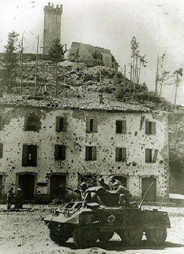 Brazilian troops in conquered Montese