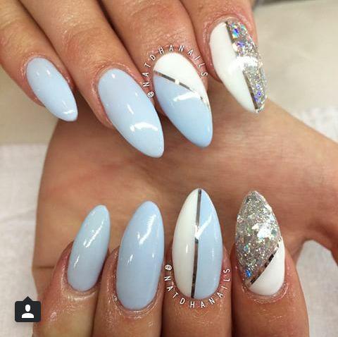 pinsvetlana on maniküren  blue and silver nails