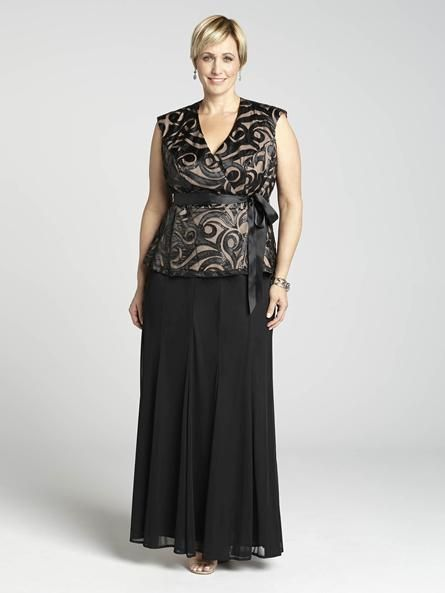 Laura Plus: for women size 14 . This is a look that will have you rethinking evening wear! Featuring two seperate pieces, a detailed peplum top and a full, mesh godet skirt, you'll dazzle in a daring way.5010103-0342
