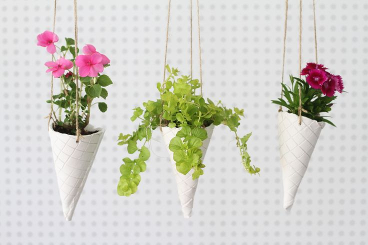 DIY: Ice Cream Cone Hanging Planters | http://hellonatural.co/diy-hanging-planters-2/
