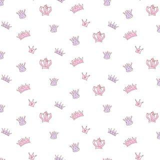 Kinder Vliestapete 'Krönchen' rosa/flieder/warmweiß