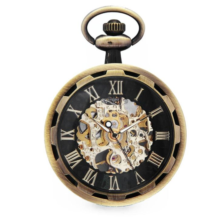 Bronze Skeleton Hollow Roman Number Open Face Hand Winding Transparent Mechanical Pocket Watch Clock Fob Chains Jewelry /WPK243