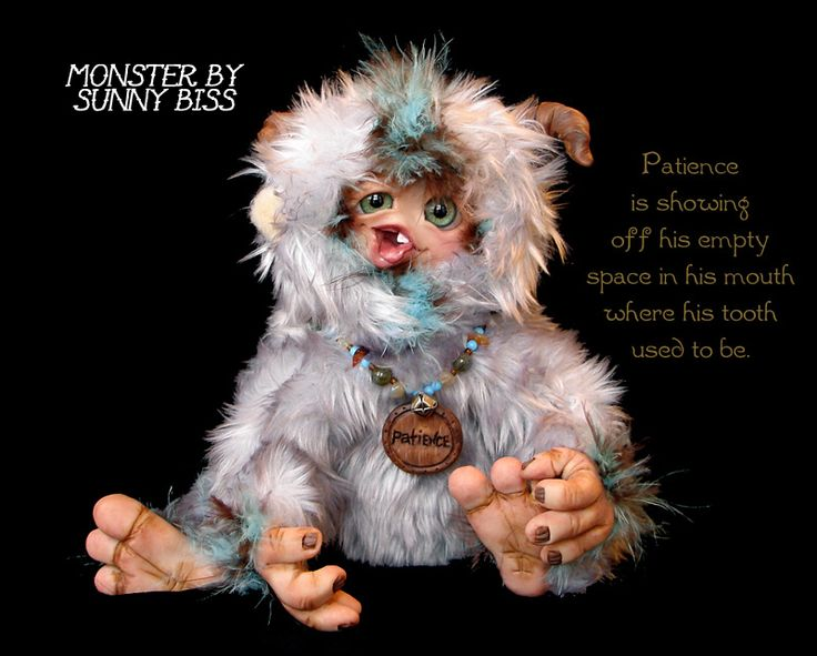 """""""Patience"""" is the little monster that has to wait for the Tooth Fairy to arrive. He has lost his tooth and waits and waits. By Sunny Biss. http://www.sunnybiss.com"""