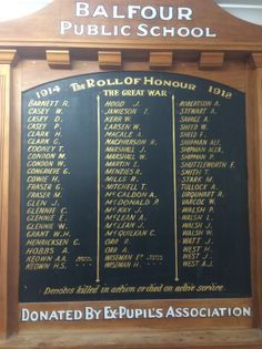 Balfour School Roll of Honour - Historypin | Walking with an Anzac