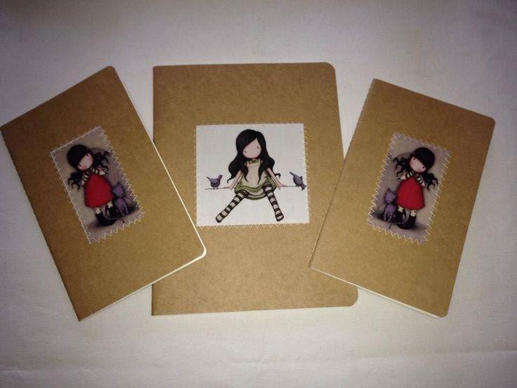 Caderno A4 e A5 tipo Moleskine personalizado com estampa gorjuss (costurado) Handmade notebook Gorjuss