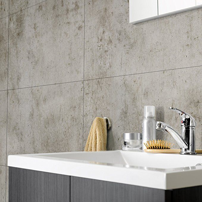 Waterproof Vinyl Tile In 15 X 25 Sheets 8 Pack For 21 Sq Ft For That Concrete Wall Look In Your Shower O Vinyl Wall Tiles Waterproof Wall Panels Wall Tiles