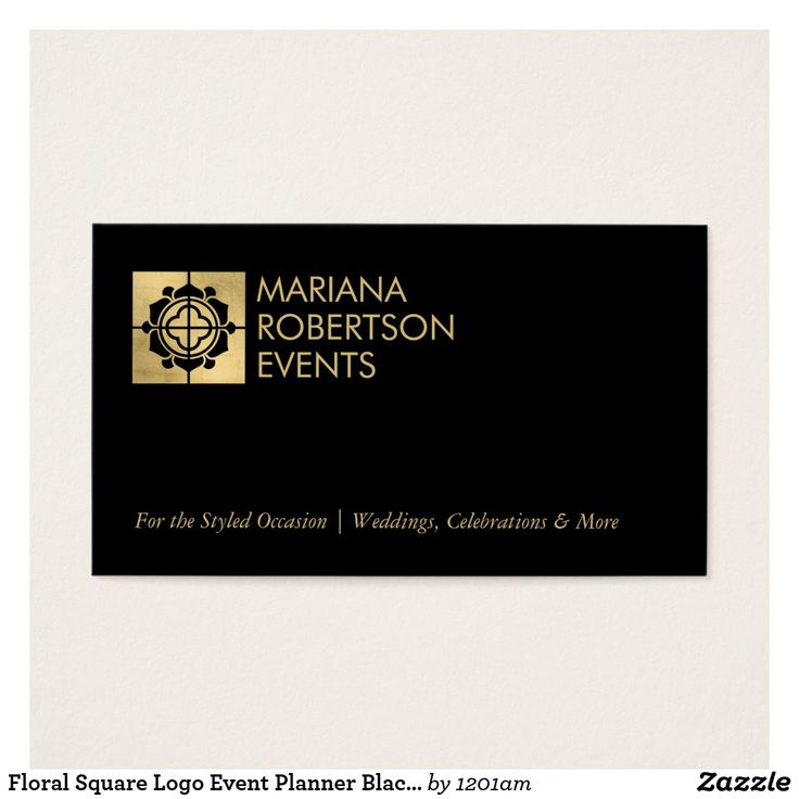 44 best business cards for event planners and wedding planners floral square logo event planner blackfaux gold business card colourmoves