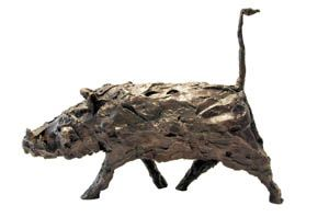 An Original #Sculpture by #TheoMegaw entitled Large Warthog, #Bronze #SouthAfricanArtist #Warthog #AfricanAnimals  For more please visit www.finearts.co.za